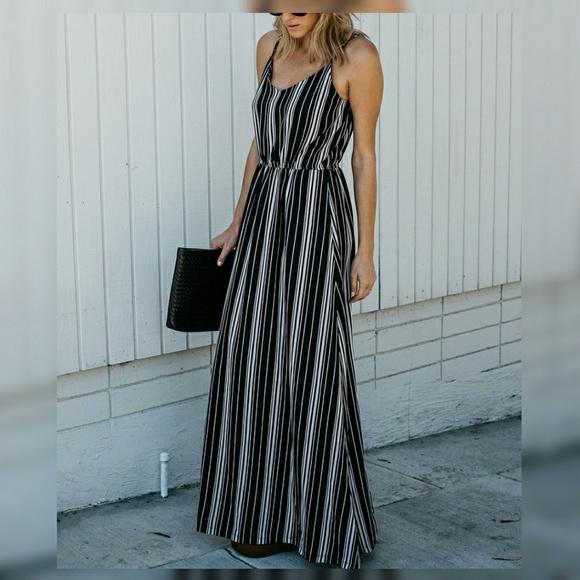 Dresses   Black White Striped Maxi Dress   Poshmark